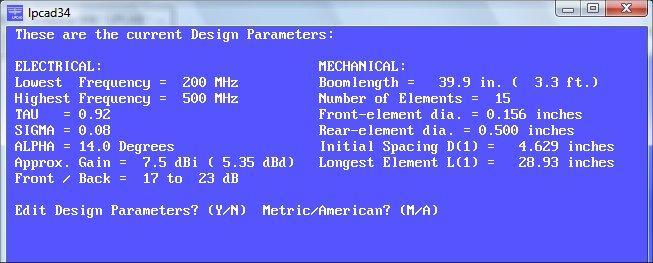 W8IO Antenna Site - LPCAD - Log Periodic Antenna Design